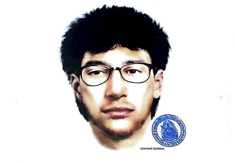 An image released by the Royal Thai Police on August 19, 2015, shows a sketch of the main suspect in Monday's deadly blast, in central Bangkok, Thailand, August 19, 2015. Thai police released the sketch on Wednesday of the main suspect in the deadly bomb blast in Bangkok that killed at least 20 people, more than half of them foreigners. The sketch shows a fair-skinned man with thick, medium-length black hair, a wispy beard and black glasses. It was unclear whether the man was Thai or a foreigner.   REUTERS/Royal Thai Police/Handout via Reuters     ATTENTION EDITORS - THIS PICTURE WAS PROVIDED BY A THIRD PARTY. REUTERS IS UNABLE TO INDEPENDENTLY VERIFY THE AUTHENTICITY, CONTENT, LOCATION OR DATE OF THIS IMAGE. FOR EDITORIAL USE ONLY. NOT FOR SALE FOR MARKETING OR ADVERTISING CAMPAIGNS.  NO SALES. THIS PICTURE WAS PROCESSED BY REUTERS TO ENHANCE QUALITY. AN UNPROCESSED VERSION WILL BE PROVIDED SEPARATELY.     TPX IMAGES OF THE DAY