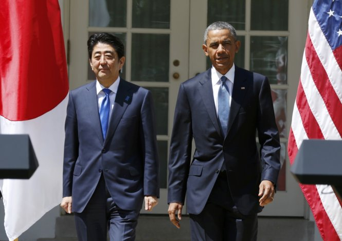 U.S. President Barack Obama and Japanese Prime Minister Abe arrive for joint news conference at the White House in Washington