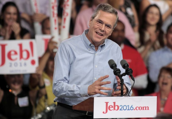 Republican U.S. presidential candidate and former Florida Governor Jeb Bush formally announces his campaign for the 2016 Republican presidential nomination during a kickoff rally in Miami, Florida June 15, 2015. REUTERS/Joe Skipper